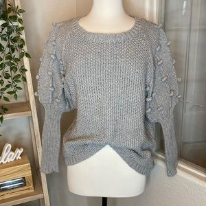🆕Ces Femme gray Pom Pom sleeves Payton sweater